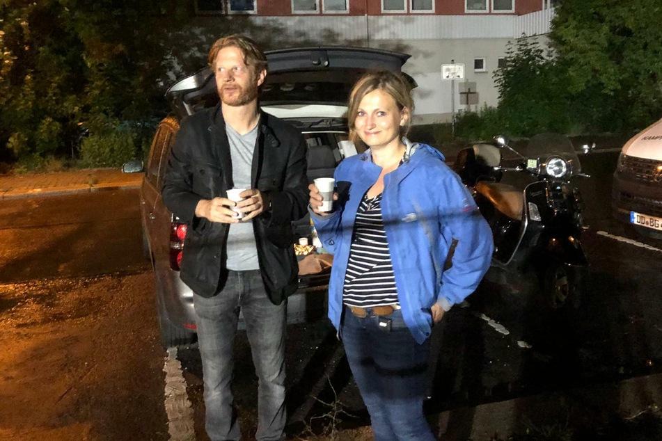 Baubürgermeister Michael Stötzer und Susan Einhorn vom Hochbauamt waren in der Nacht auch vor Ort.