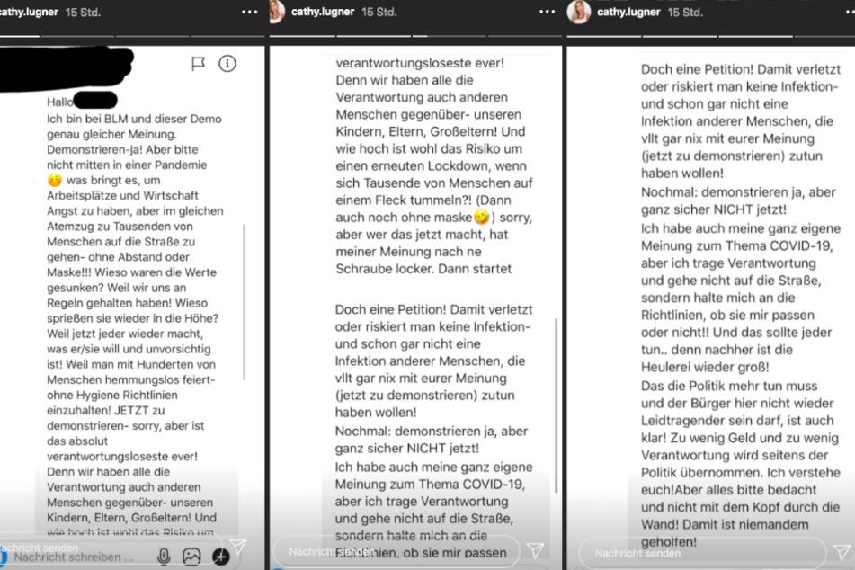 Cathy Lugner (30) teilt auf Instagram ihre Meinung zu Demonstrationen während der Corona-Krise.