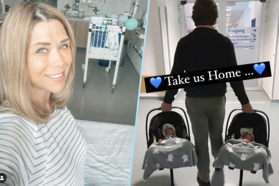 Von Umzugsstress keine Spur: Leo und Louis schlummern lieber noch eine Runde, als Papa Norman sie in ihren Babyschalen aus der Klinik trägt.