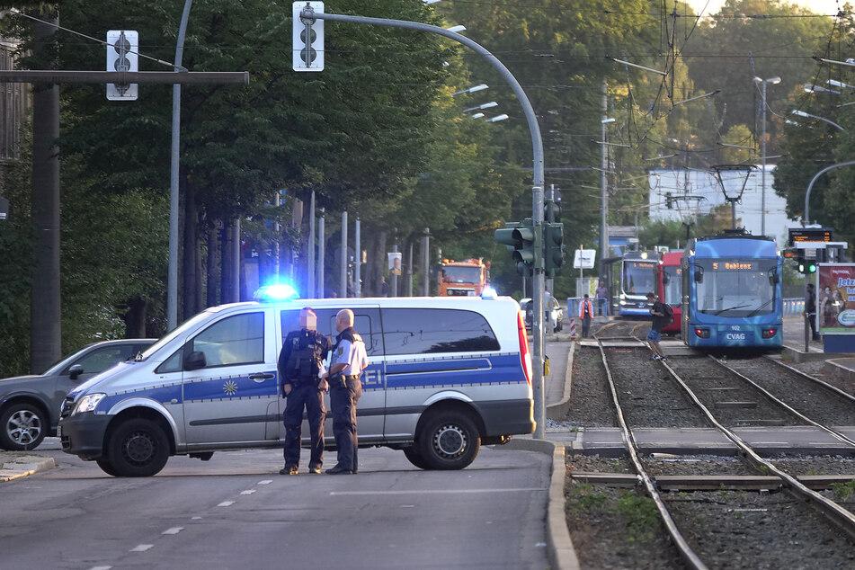 Die Annaberger Straße wurde kurzzeitig voll gesperrt.