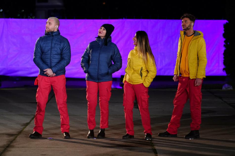 """V.l.: Filip Pavlovic (28), Djamila Rowe (53), Christina Dimitriou (29) und Sam Dylan (29) als """"Die Vier von der Bushaltestelle""""."""