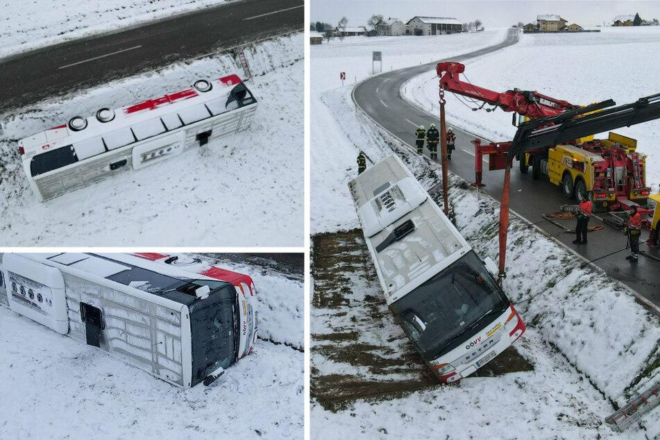 Linienbus kippt um: Sieben Schüler und Busfahrer verletzt!