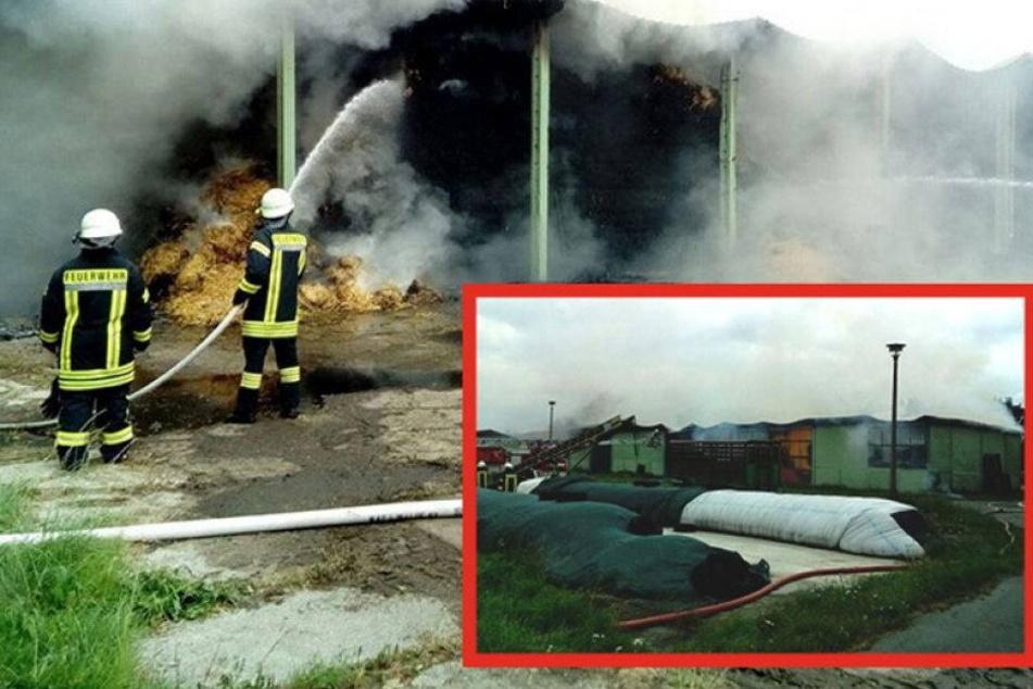 Großbrand in Ebersbach: Scheune steht seit Stunden in Flammen