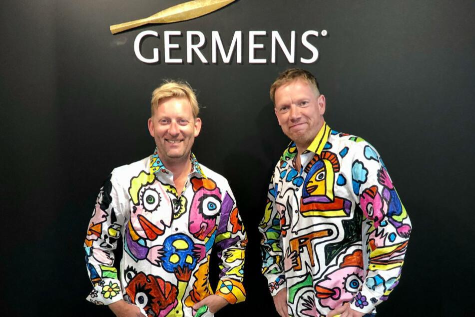 Germens-Chef Renè König (47, l.) und Michael Fischer-Art (51) tragen Kunst auf dem Hemd.