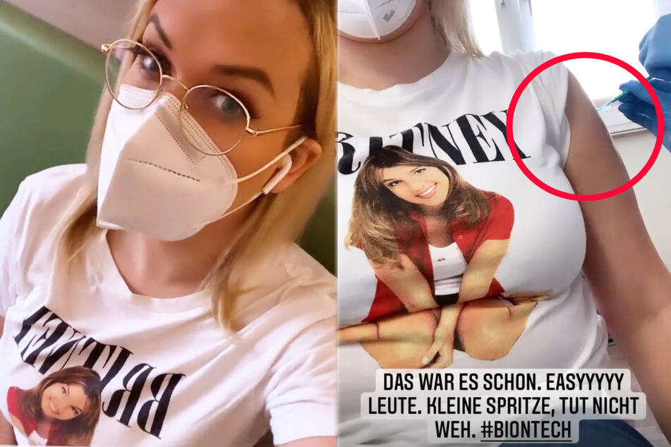 """Mit den Worten """"Kleine Spritze, tut nicht weh"""" machte Josimelonie (27) bei ihren Followern Werbung für die Corona-Impfung."""