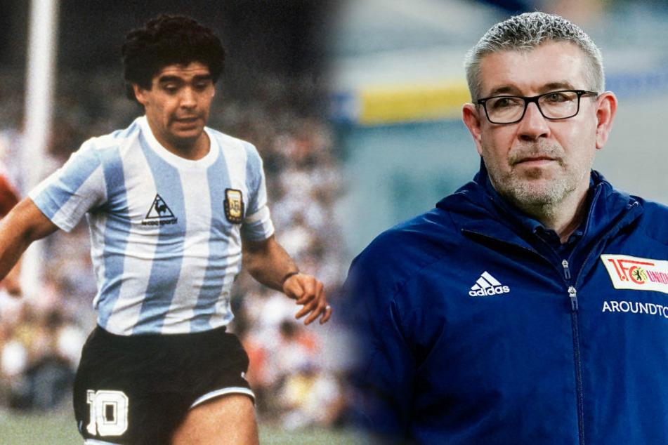Union-Coach Urs Fischer (54, r.) verbindet eine schöne persönliche Erinnerung mit der verstorbenen argentinischen Fußball-Legende Diego Armando Maradona (†60).
