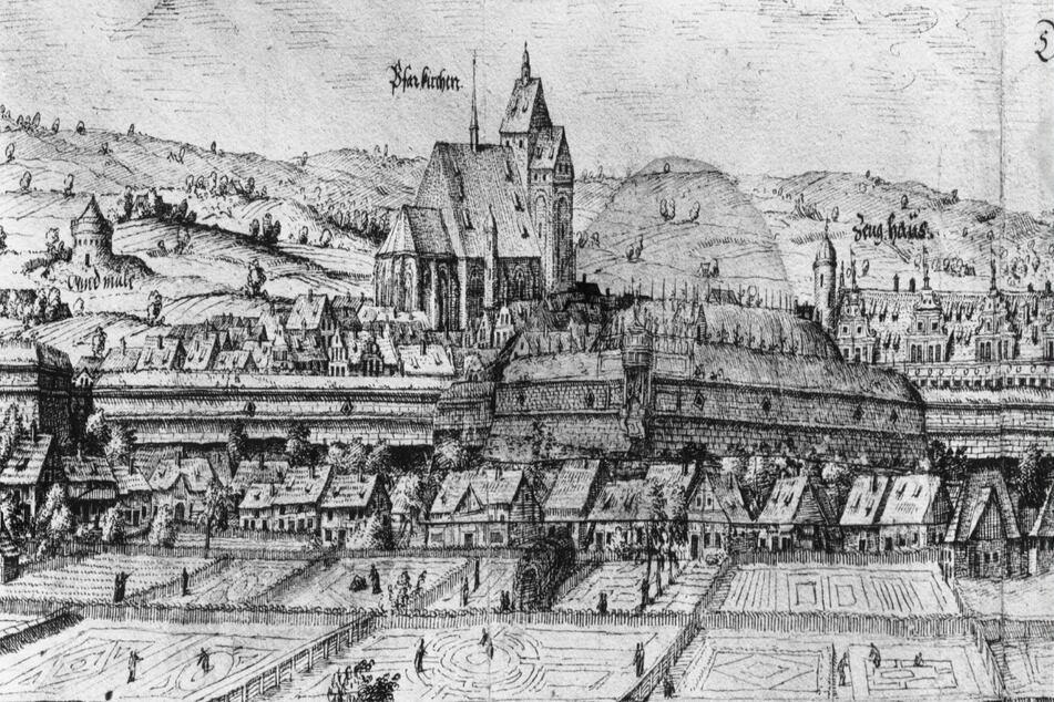Der erste Puff lag in der Nähe der Kreuzkirche. (Abbildung von 1550).