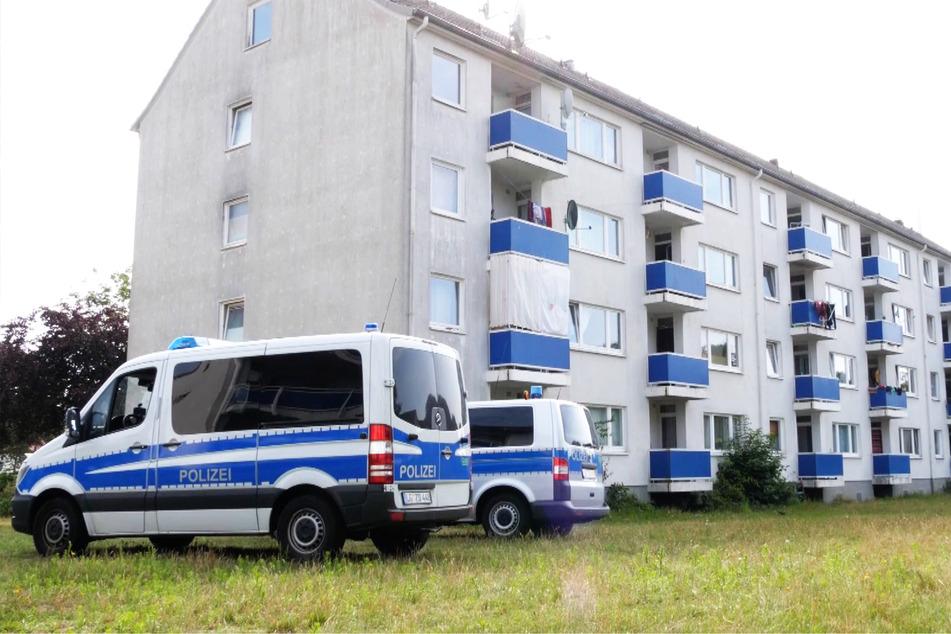 Polizeifahrzeuge stehen vor einem Häuserkomplex und kontrollierten die Ausgangssperre.