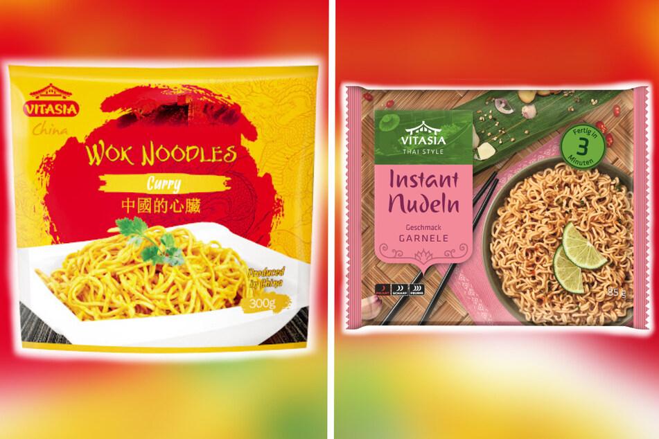 """Von dem Rückruf betroffen sind """"Vitasia Wok Noodles Curry, 300g"""" und """"Vitasia Instant Nudeln Geschmack Garnele, 85g""""."""