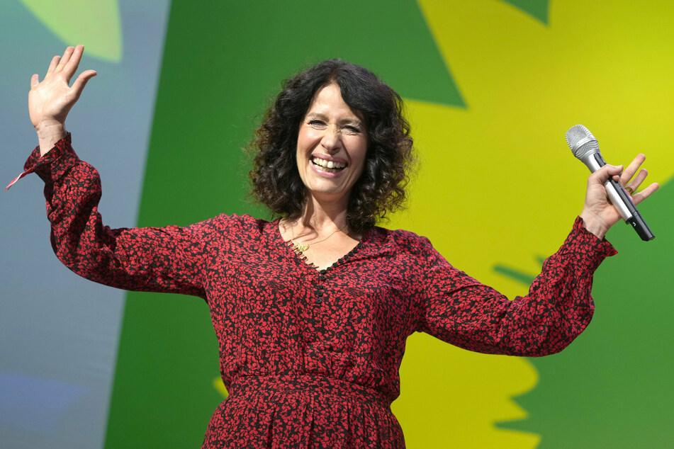Bettina Jarasch, Spitzenkandidatin der Berliner Grünen für die Abgeordnetenhauswahl, bei der Wahlparty von Bündnis 90/Die Grünen.