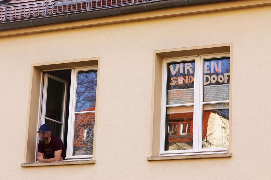 """""""Viren sind doof"""" schrieb ein Unbekannter mit Haftnotizen in ein Fenster seiner Wohnung."""