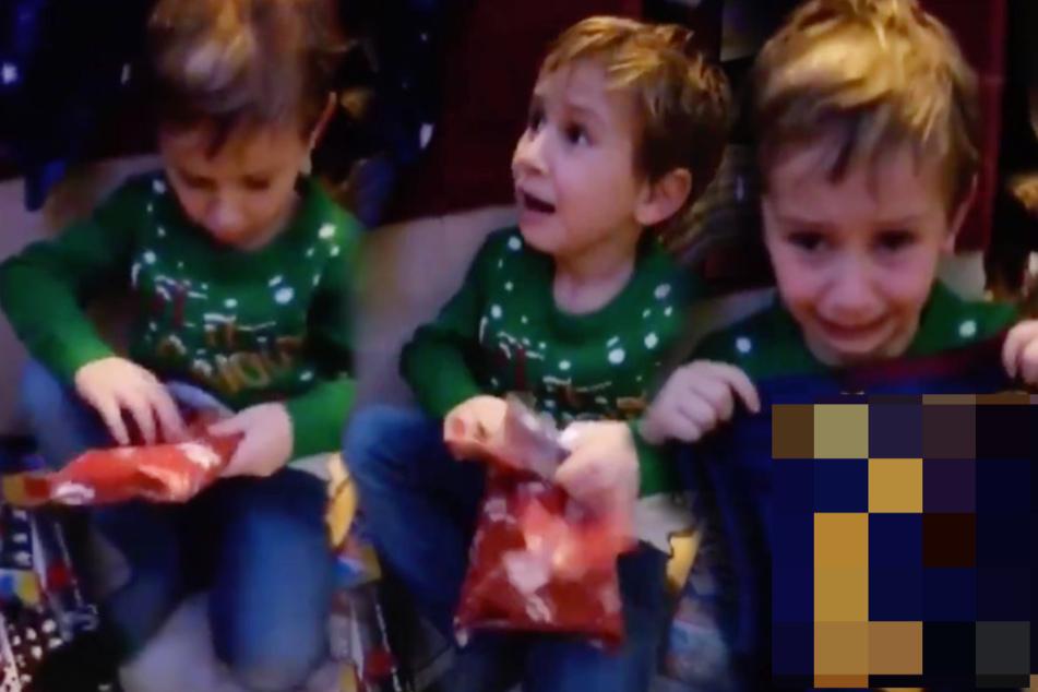 Tränen der Freude: Kleiner Junge öffnet sein Geschenk, dann bricht es aus ihm heraus