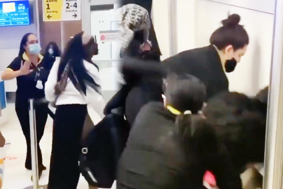 Flug verspätet: Frauen verprügeln Airline-Personal mit Gegenständen am Flughafen