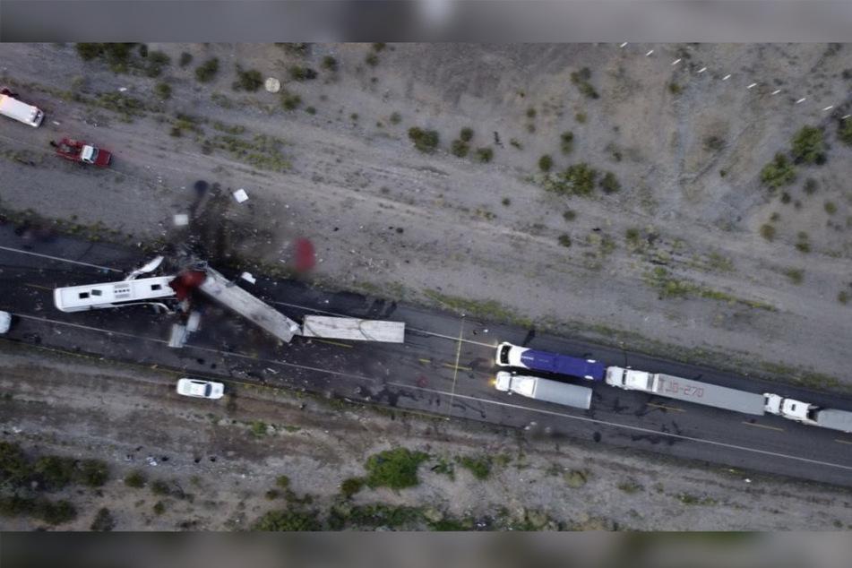 Der Unfall aus der Luft aufgenommen.
