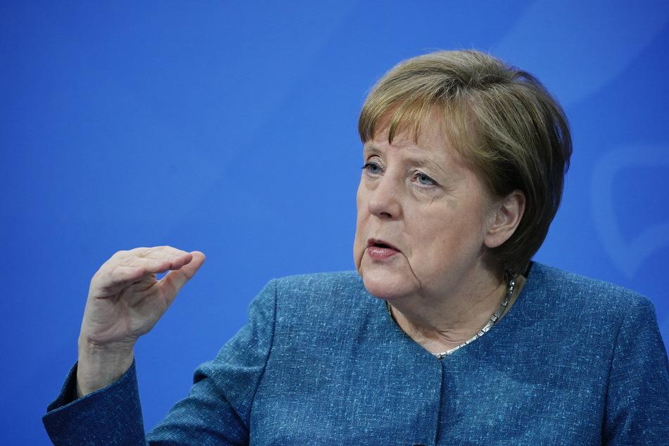 Bundeskanzlerin Angela Merkel (66, CDU) spricht bei der Pressekonferenz nach dem Impfgipfel im Kanzleramt.