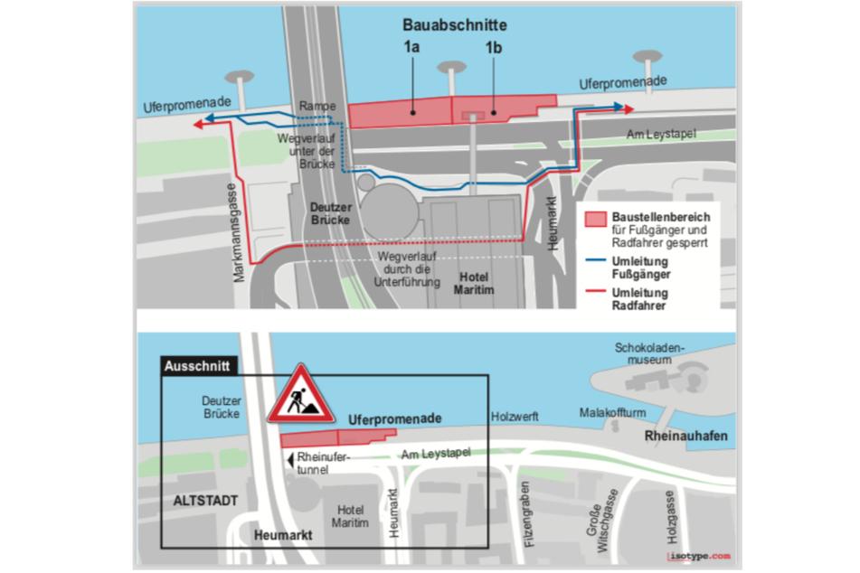 Ansicht der geplanten Bauarbeiten und Umleitungen im Bereich des ersten Abschnitts ab Deutzer Brücke in Richtung Schokoladenmuseum.