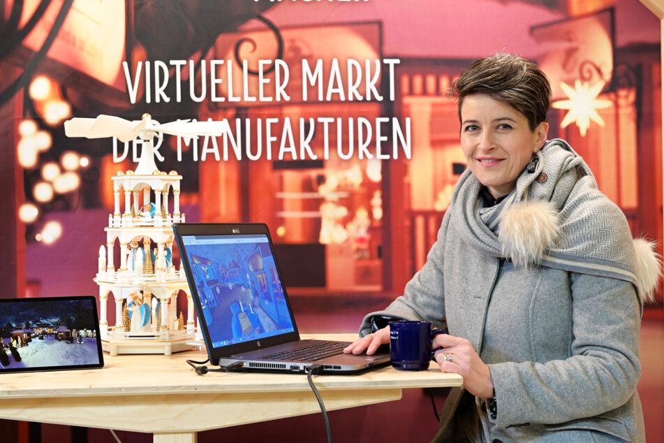 Dregeno-Chefin Juliane Kröner präsentierte 2020 erstmals den virtuellen Seiffener Weihnachtsmarkt - dieses Jahr gibt es eine Neuauflage.