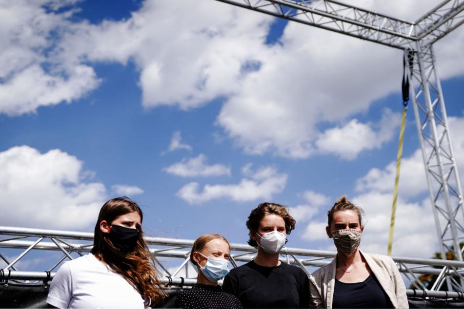 Die jungen Klima-Ikonen bei ihrer gemeinsamen Pressekonferenz in Berlin.