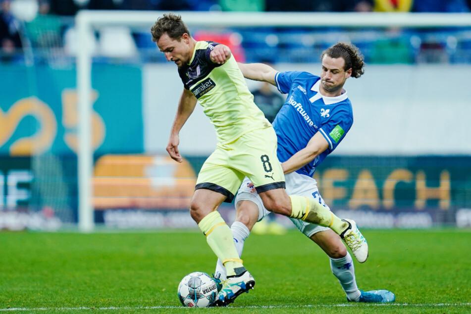 Yannick Stark (r.) verlässt den Zweitliga-Klub SV Darmstadt 98 und wechselt zum Drittligisten Dynamo Dresden.