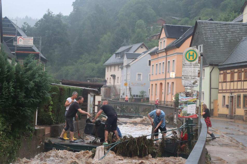 Besonders heftig betroffen war der Ortsteil Krippen.