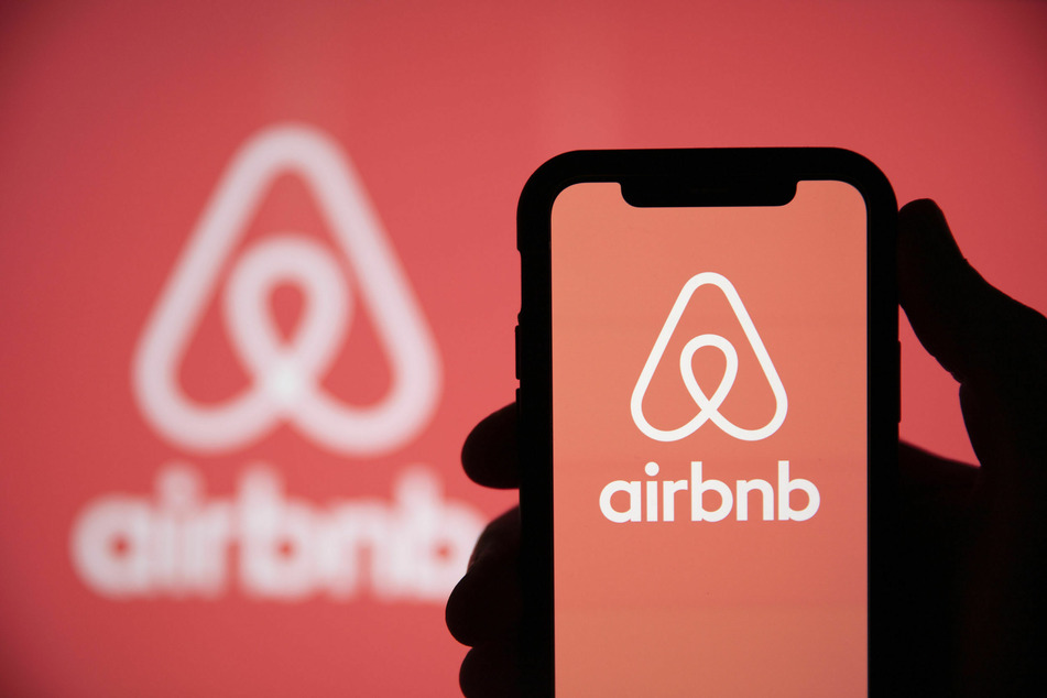 The logo of the global company Airbnb.