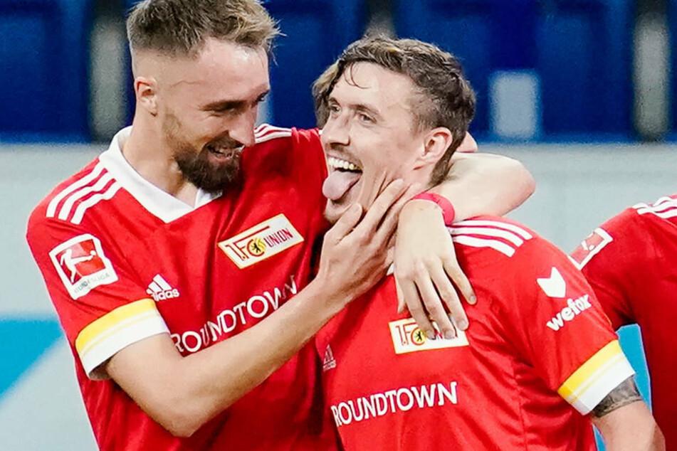 Max Kruse (32, r.) freut sich mit Florian Hübner (29) über den Treffer zum 1:0 gegen die TSG 1899 Hoffenheim. Der Star-Stürmer lieferte gegen die Kraichgauer eine hervorragende Leistung ab.