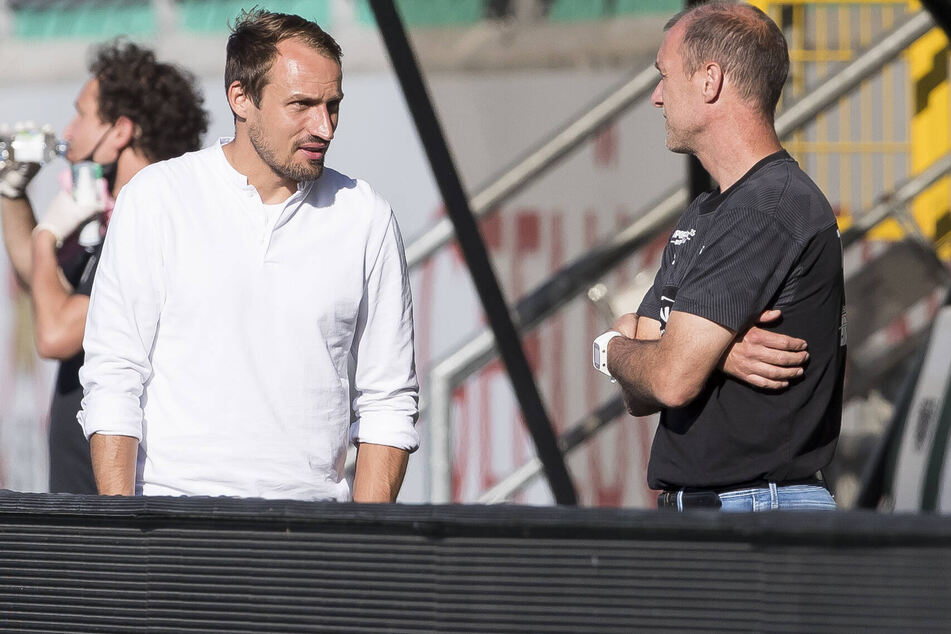 Glauben weiter an den Klassenerhalt: FSV-Sportdirektor Toni Wachsmuth und Coach Joe Enochs.