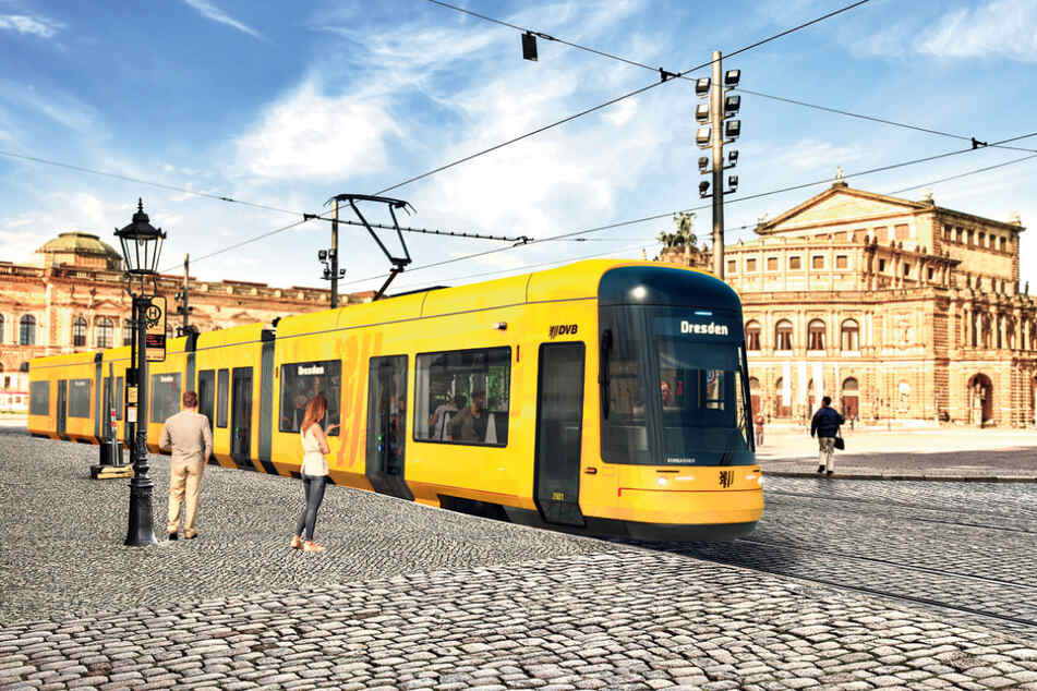 Eine Visualisierung der neuen Straßenbahn. Frühestens Mitte 2021 rollt die erste von vorerst 30 neuen Luxus-Straßenbahnen durch Dresden.