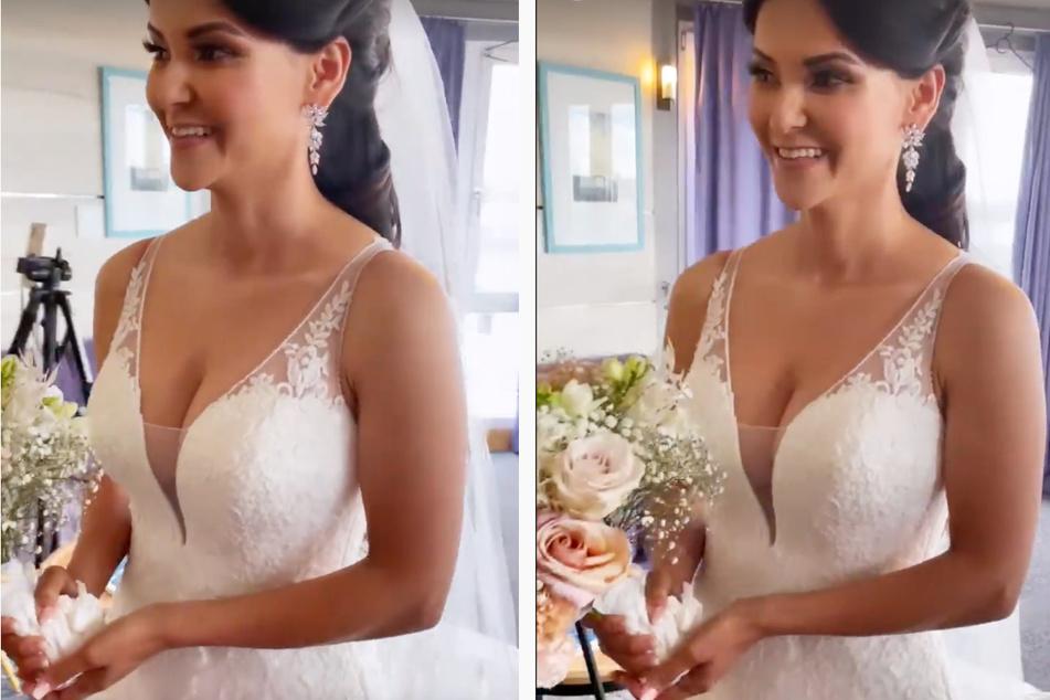 In einer Instagram-Story vom Freitag zeigte Kattia Vides (33) den Moment, als sie sich vor der Hochzeit mit Brautkleid und Strauß zum ersten Mal im Spiegel sah.