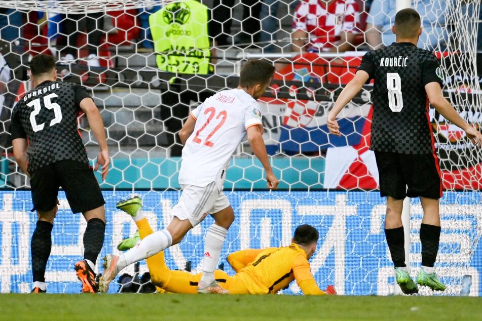 Verdient! Pablo Sarabia war für Spanien zur Stelle und glich in der 38. Minute der ersten Halbzeit gegen Kroatien zum 1:1 aus.