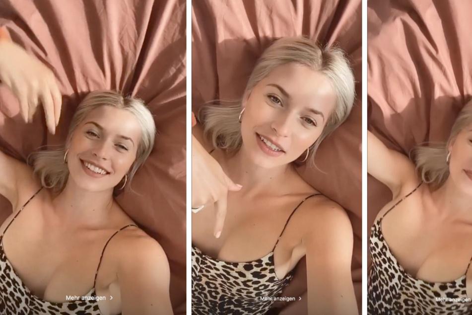 Lena Gercke (32) rekelt sich in ihrer Instagram-Story ohne BH auf einem Bett.