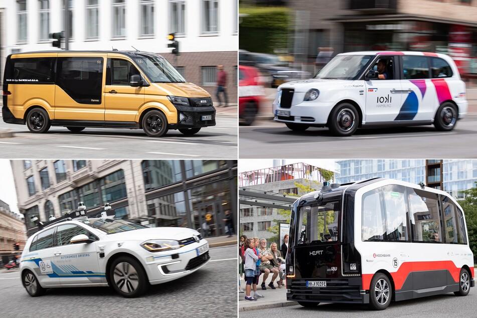 Die Bilder zeigen Fahrzeuge des VW-Fahrdienstes Moia (oben l.), ein Elektro-Shuttle der Bahn-Tochter Ioki (oben r.), einen Elektro-Golf (unten l.), sowie den autonom fahrenden Kleinbus HEAT der Hochbahn Hamburg.