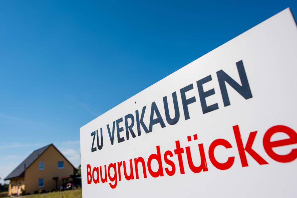 Ein Schild mit der Aufschrift «Zu verkaufen - Baugrundstücke» steht an einem Grundstück.