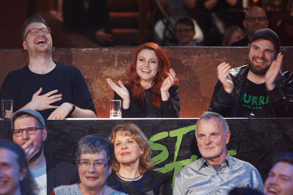 """Waren froh, als das Battle"""" beendet war: Die """"Roast Battle""""-Jury umMaxi Gstettenbauer, Tahnee Schaffarczyk und Ingmar Stadelmann (v.l.n.r.)."""