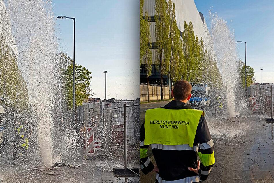 München: Fünf Meter Wasserfontäne: Feuerwehr bekämpft spontanen Springbrunnen in München