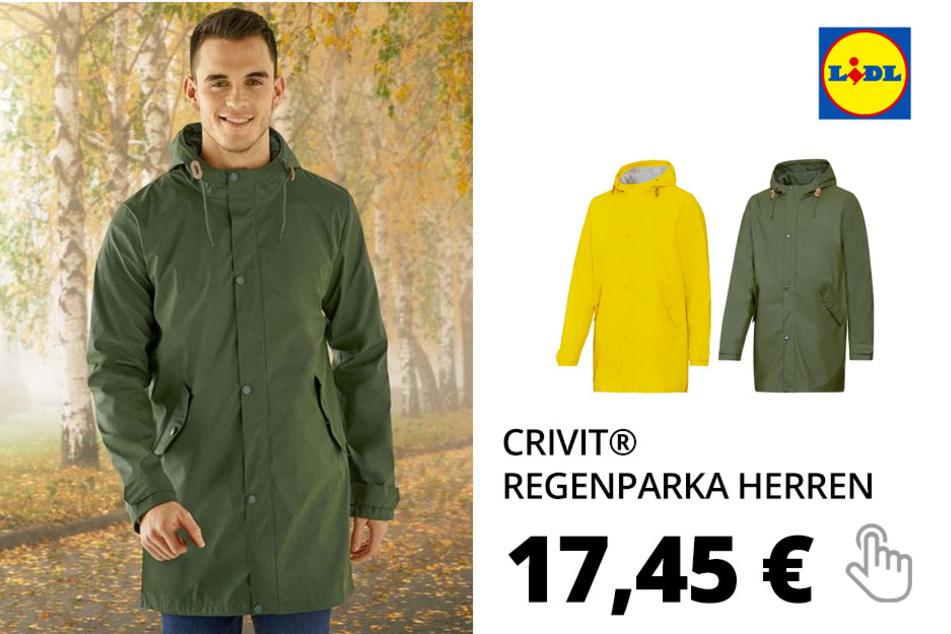 CRIVIT® Regenparka Herren, mit Reißverschluss, verlängerte Rückenpartie, wasserabweisend