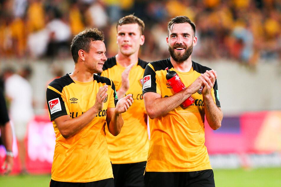 Morris Schröter (26, r.) kam im Sommer vom FSV Zwickau. Er fand sich eine Liga höher sofort zurecht.