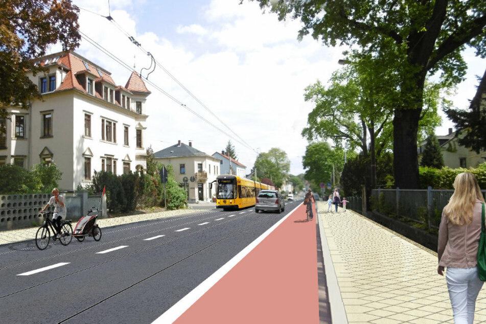 So soll es zukünftig aussehen. Erstmals gibt es zwei Gleise, Radler fahren jedoch teilweise im Gleisbereich.