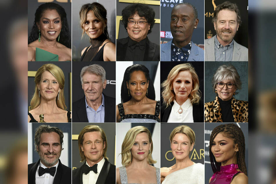 Sie alle wurden für die 93. Oscar-Verleihung angekündigt: obere Reihe von links: Angela Bassett, (62) Halle Berry (54), Bong Joon Ho (51), Don Cheadle (56) und Bryan Cranston (65), zweite Reihe von links: Laura Dern (54), Harrison Ford (78), Regina King (50), Marlee Matlin (55) und Rita Moreno (89), und untere Reihe von links: Joaquin Phoenix (46), Brad Pitt (57), Reese Witherspoon (45), Renee Zellweger (51) und Zendaya (24).