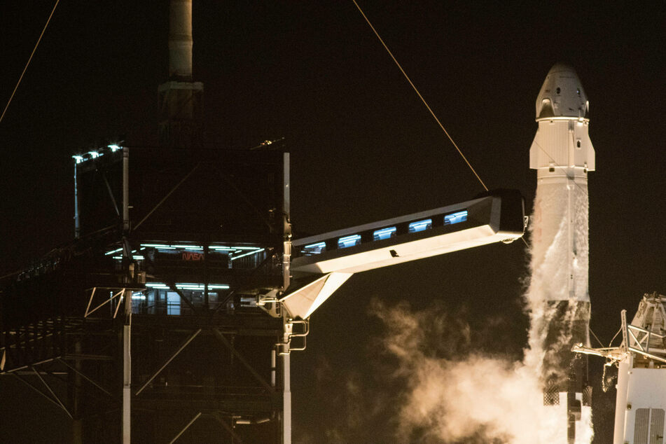 A SpaceX Falcon 9 rocket carrying Crew Dragon spacecraft launched from Cape Canaveral.