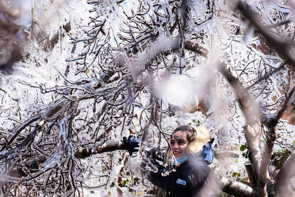 Eine Jugendliche freut sich über einen gefrorenen Baum.