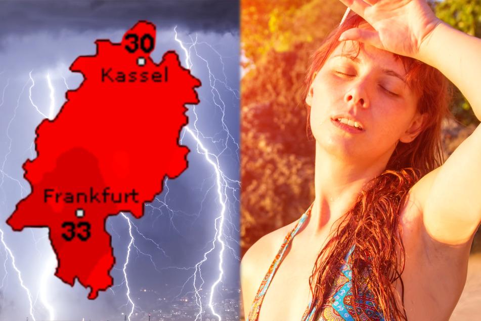 Auch der Dienst Wetteronline.de (Grafik) warnt vor großer Hitze in Hessen. Vor Unwettern mit Starkregen und Sturmböen wird ebenfalls gewarnt.