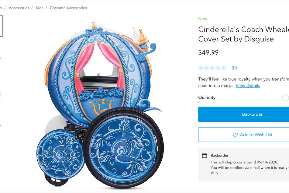 Die Cinderella-Verkleidung für einen Rollstuhl.