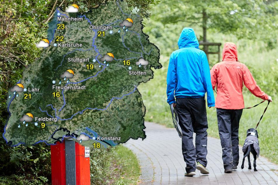 Zum Start in den August wird in Baden-Württemberg Regenschirm und wetterfeste Kleidung benötigt. (Fotomontage)