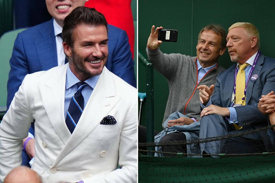 David Beckham (46, l.) war ohne seine Gattin Victoria dabei. Auch Ex-Nationaltrainer Jürgen Klinsmann und Wimbledon-Legende Boris Becker (53, r.) fieberten mit.