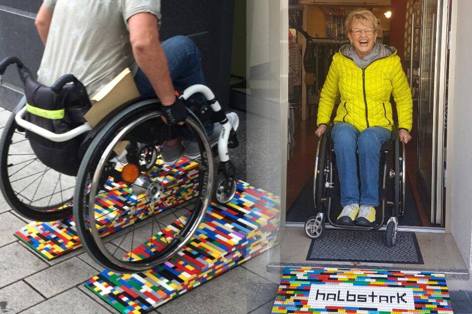 Fotomontage: Die Hanauerin Rita Ebel (r.) ist selbst auf einen Rollstuhl angewiesen.