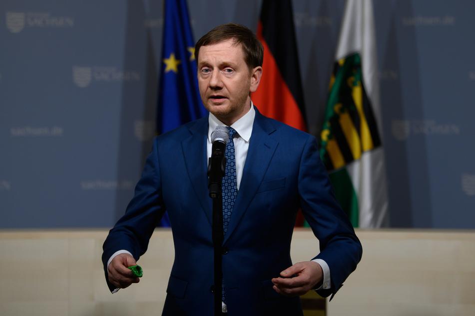 Michael Kretschmer (45, CDU), Ministerpräsident von Sachsen, spricht in der Staatskanzlei.