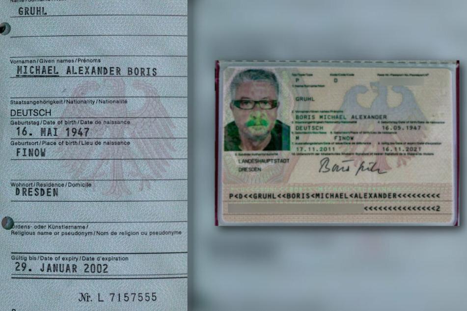 """Sowjetische Wurzeln damals ungewollt: Im alten DDR-Pass wanderte sein eigentlicher Vorname """"Boris"""" an die letzte Stelle (links). Seit 2011 stellt er sich nicht mehr als Michael, sondern als """"Boris"""" vor, korrigierte auch die Reihenfolge der Namen im Ausweis."""