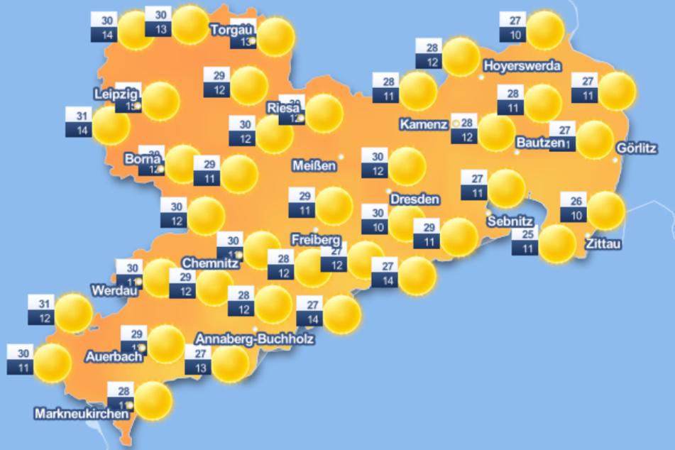 Am Samstag soll es im Freistaat sonnig und heiß werden.