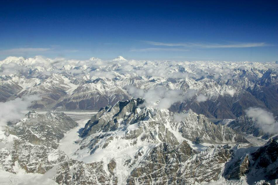 An aerial view of the Karokoram mountains and K2 in North Pakistan.